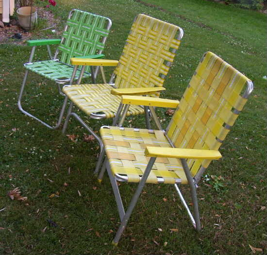 3 vintage webbed aluminum folding lawn chairs