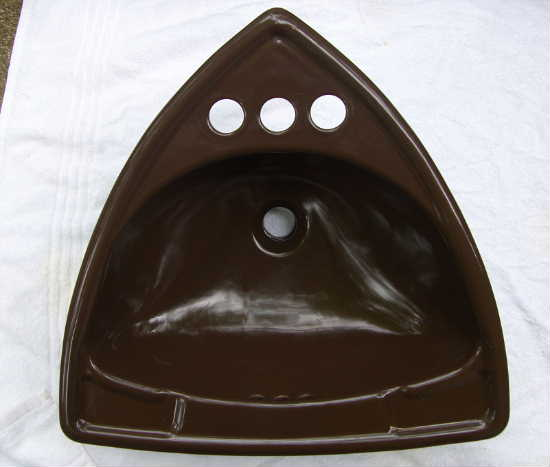 Triangle Sink : ... Bathroom Sink Triangular Porcelain Drop In Brown Triangle Sink Unique